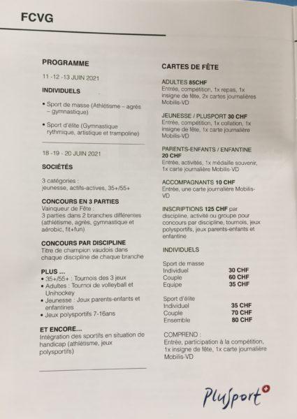 Fête Cantonale Vaudoise de gymnastique (individuel) reportée en 2022